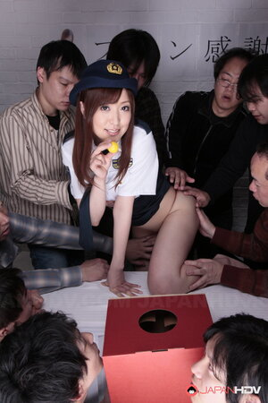 Orgy with a lot of participants is going to start cause Asian cop is so helpless