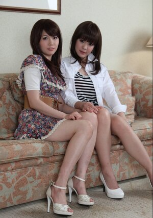 A couple of Japanese cuties Rimu Endo and furthermore Ueno Misaki unveil their petite tits only