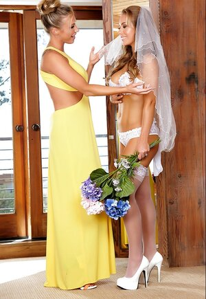 Sweet bride before ceremony has time for sensual affair with femdom goddess
