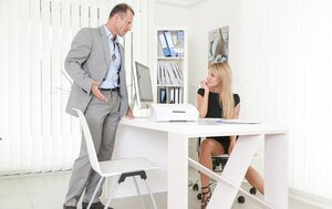 Boss lectures likable secretary who calms lad down by blowjob before sex