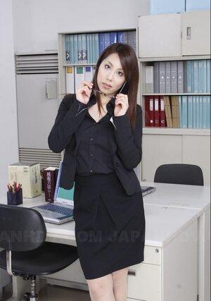 Asiatique, Asiatique, Lunettes, Jupe, Bureau, Secrétaire