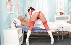 Breasty nurse in red underwear tempts bald patient into spontaneous sex