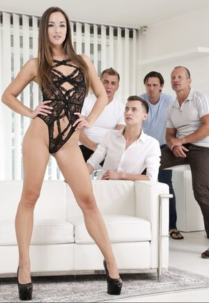Small-tittied broad makes guys abundantly finish all over her hot body