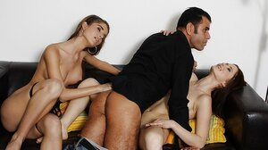 Dude gets down and also dirty wife's asshole and also stepdaughter has desire to join after catches them