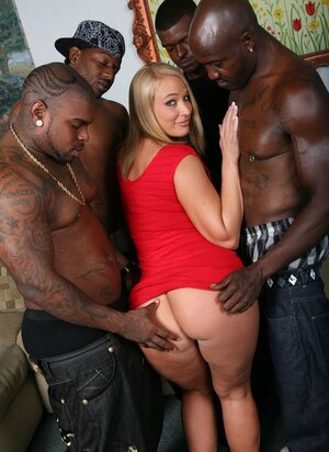 Strong black stallions cover blonde MILF's face with white jizm after group fuck