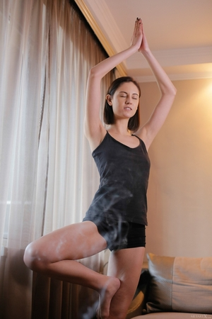 Morning yoga session pretty girlfriend decides to undress and show trimmed pussy